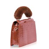 INYATI Olivia Croco Top Handle Bag Brandy Brown zijkant