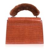 INYATI Olivia Croco Top Handle Bag Brandy Brown achterkant