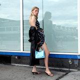 Daniel Silfen Handbag Ulla Glitter Aqua model aan