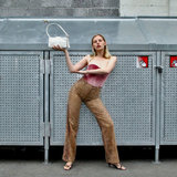 Daniel Silfen Handbag Yasmin Glitter Snow model aan