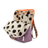Sticky Lemon Large Backpack Colourblocking Orange Juice + Plum Purple + Schoolbus Brown binnenkant