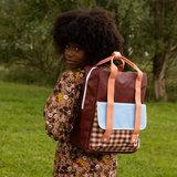 Sticky Lemon Large Backpack GinghamCherry Red + Sunny Blue + Berry Swirl model kind achterkant