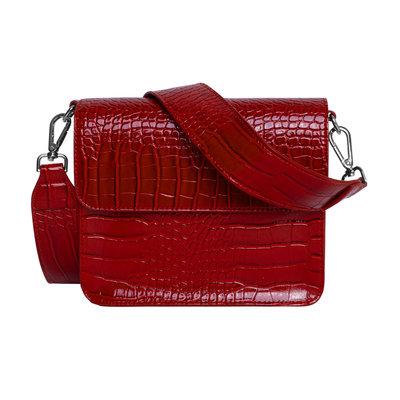 Hvisk Cayman Shiny Strap Bag wine red