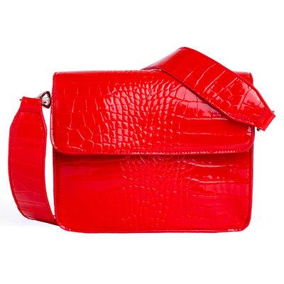 Hvisk Cayman Shiny Strap Bag red