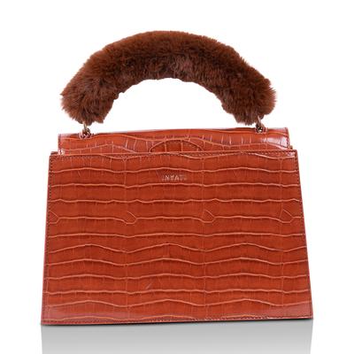 Inyati Olivia Croco Top Handle Bag Brandy Brown