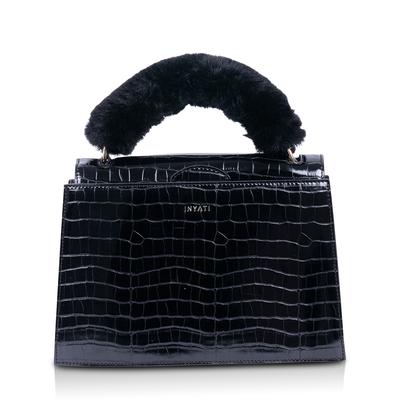 Inyati Olivia Croco Top Handle Bag Black