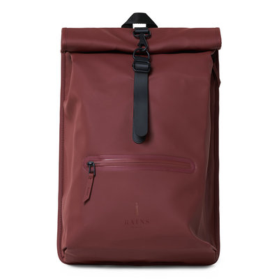 Rains Roll Top Backpack Maroon