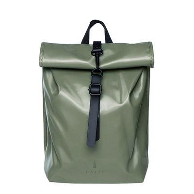 Rains Roll Top Mini Backpack Shiny Olive