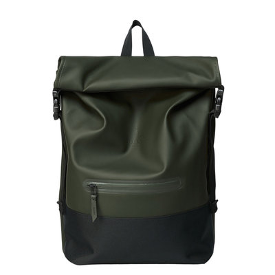 Rains Buckle Roll Top Backpack Green