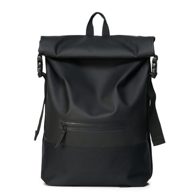 Rains Buckle Roll Top Backpack Black