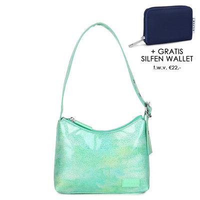 Daniel Silfen Handbag Ulla Glitter Watergreen