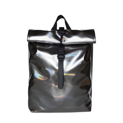 Rains Roll Top Mini Backpack Holographic Steel