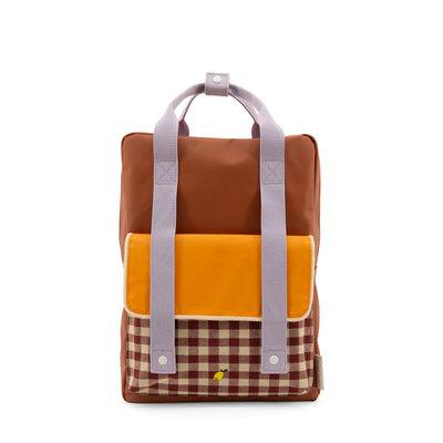 Sticky Lemon Large Backpack Gingham Chocolate Sundae + Daisy Yellow + Mauve Lilac