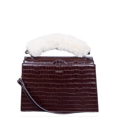 INYATI Olivia Croco Top Handle Bag Brown Croco