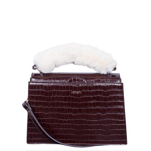 Olivia Croco Top Handle Bag Brown Croco