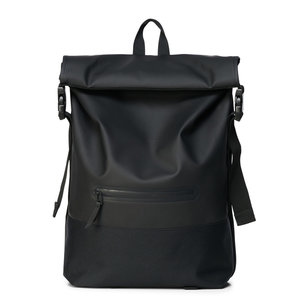 Rains Buckle Roll Top Backpack Black