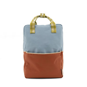 Sticky Lemon Large Backpack Colourblocking Blueberry + Willow Brown + Pear Green
