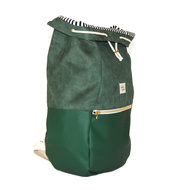 Kaliber Fashion Backpack Love & Soul Dark Green Zijkant Open